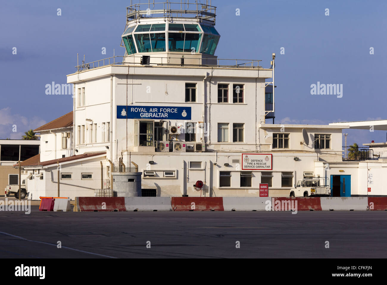 The air traffic control building showing the RAF presence at Gibraltar airport - Stock Image