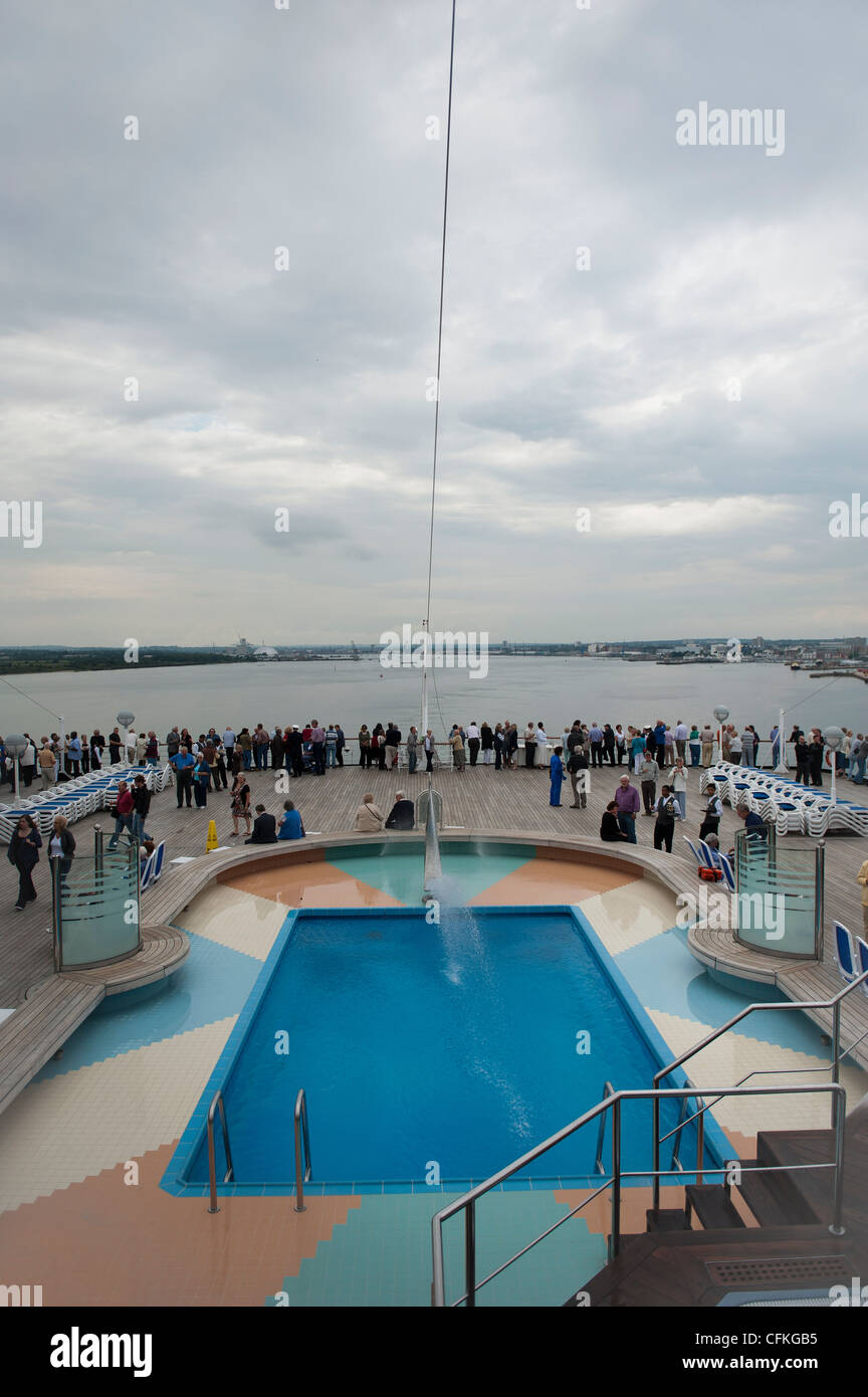 The Swimming Pool at the back of the P&O Cruise Ship Arcadia. Stock Photo