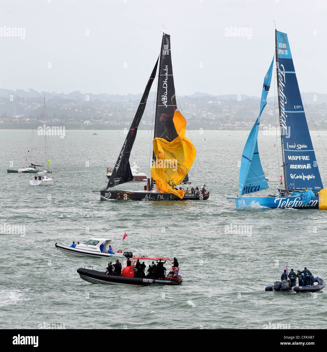 2012 Volvo Ocean Race contestants rounding the upper harbour buoy during the Auckland stopover In-port race March - Stock Image