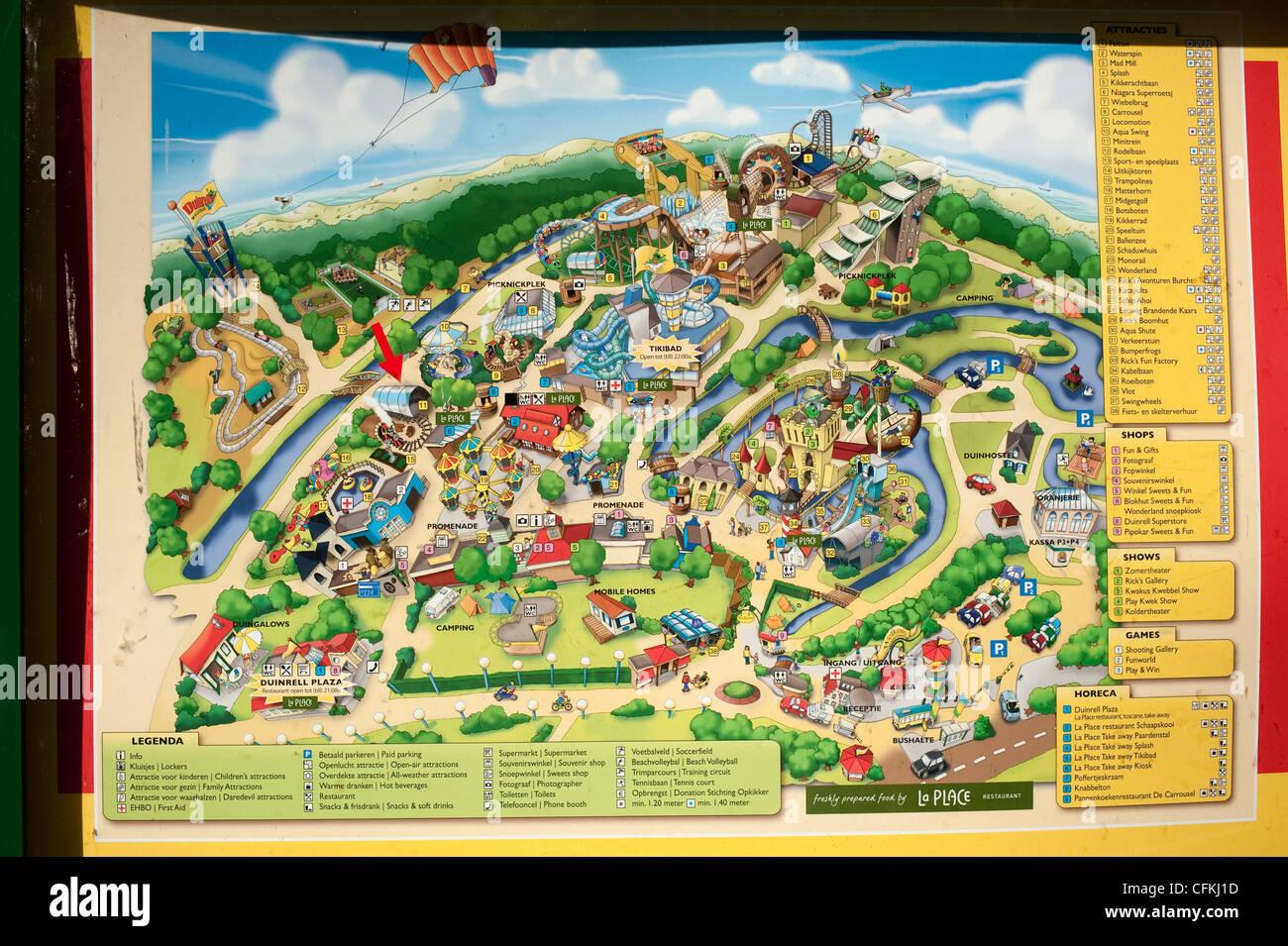 Holland Europe Map.Amusement Theme Park Map Wassenaar Holland Netherlands Europe Eu