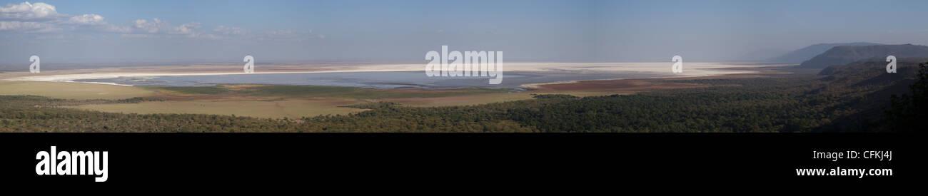 Panorama of Lake Manyara, Tanzania, Africa Stock Photo