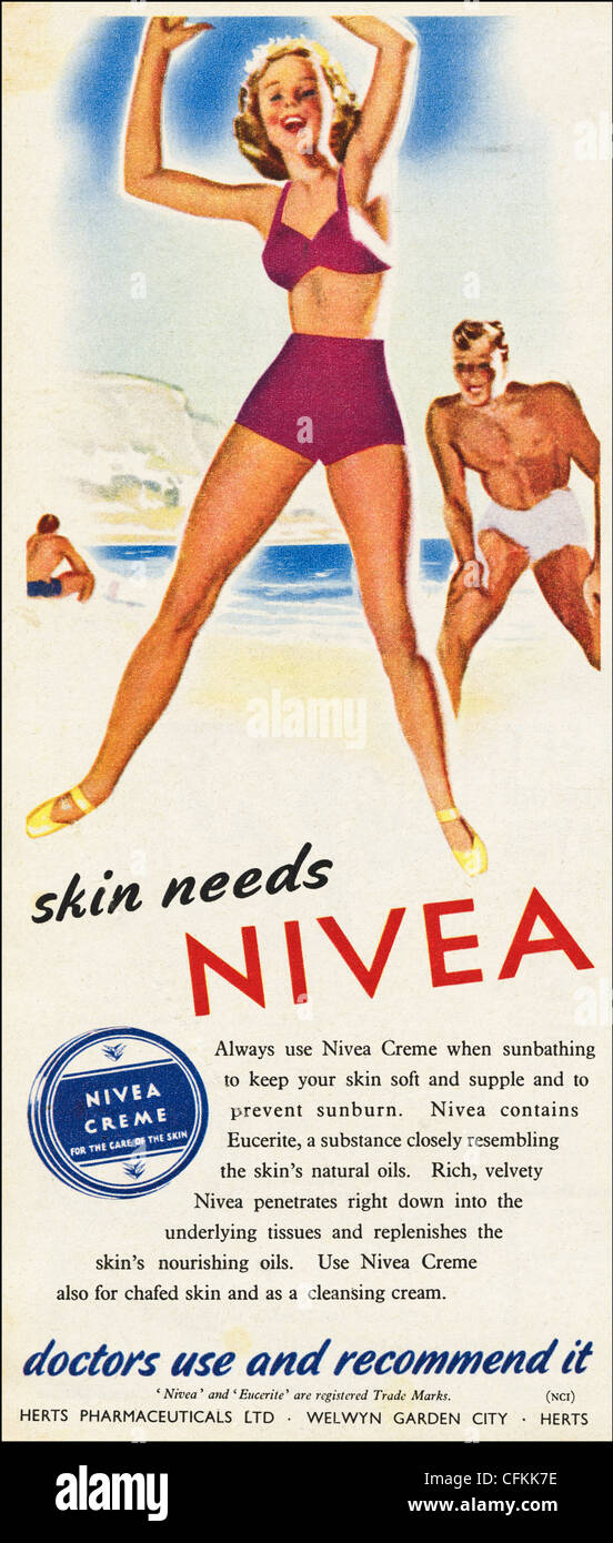 Original magazine advertisement of the 1940s era advertising NIVEA skin creme - Stock Image