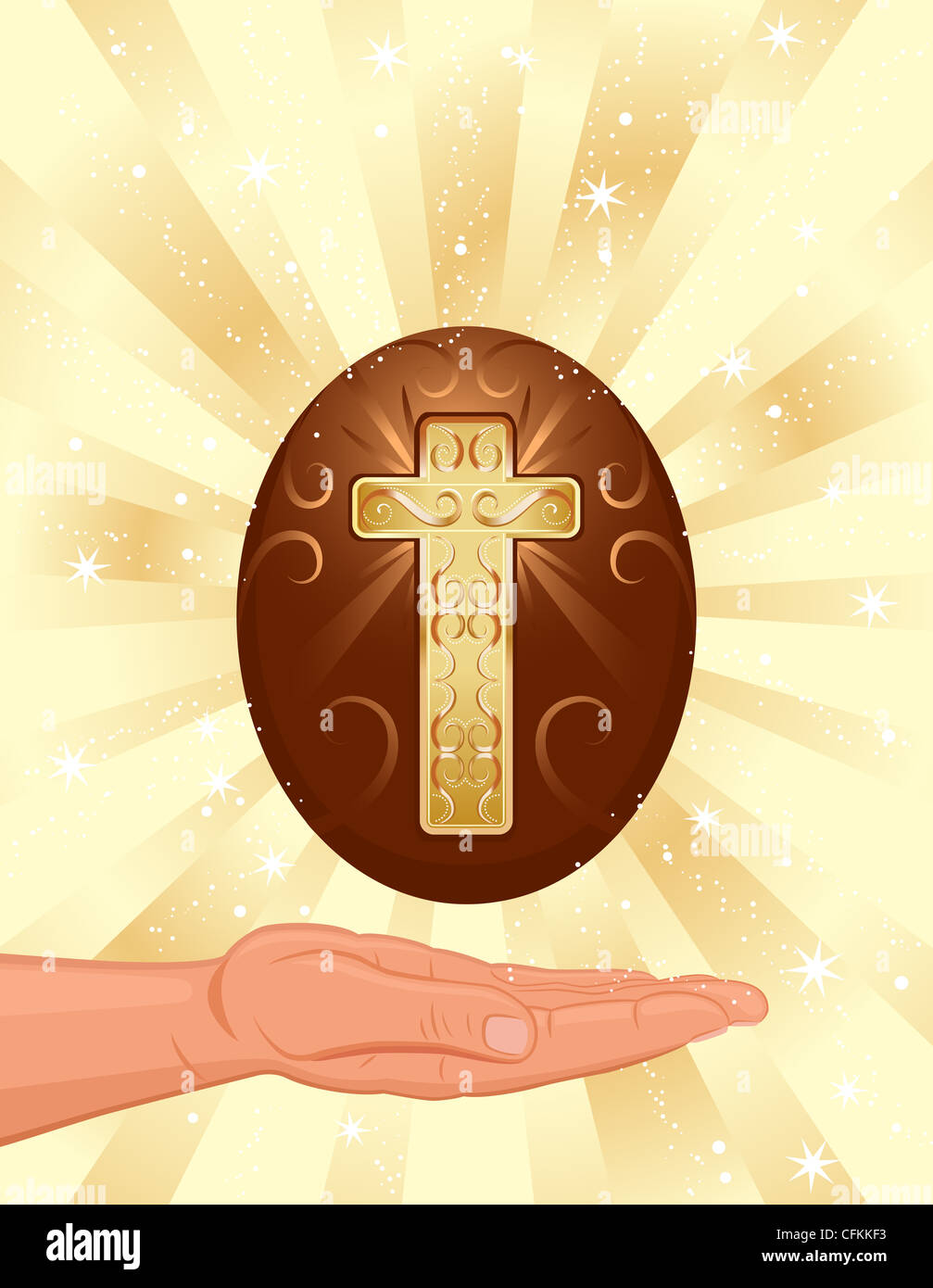 Easter religious card with golden Christian cross and decorated egg. - Stock Image