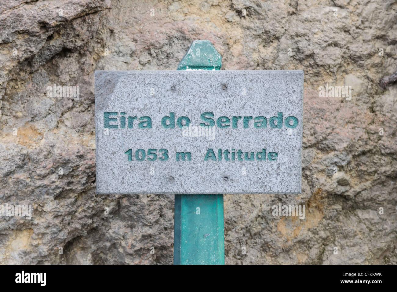 Altitude sign Eira do Serrado Madeira Portugal - Stock Image