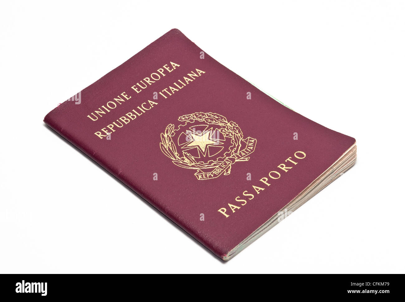 iIalian republic passport on a white background - Stock Image