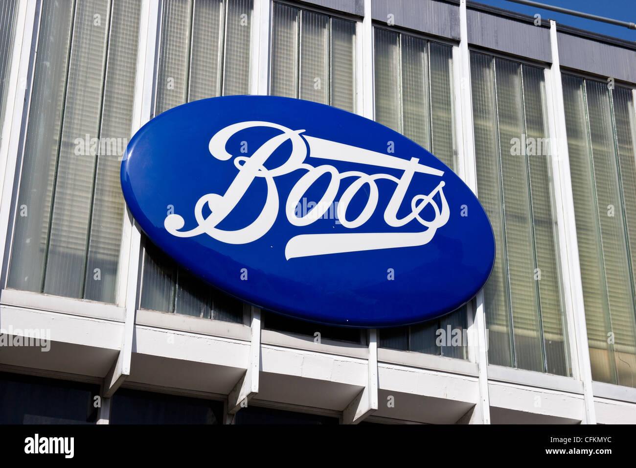 Boots the Chemist Store Sign High Street Ashford Kent UK - Stock Image