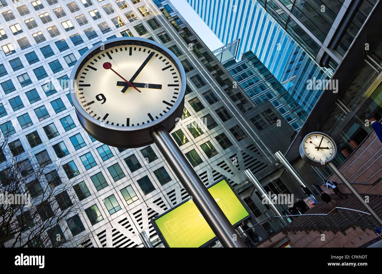 Canary Wharf clocks - Stock Image