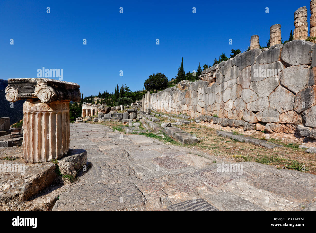 The Sacred Way (Archaic Period) in Delphi, Greece Stock Photo