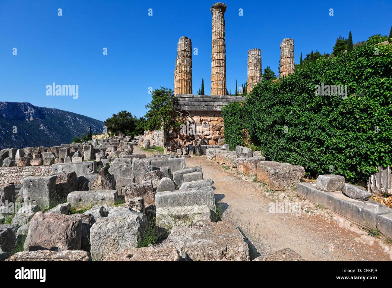 Temple of Apollo (4th cent. B.C.) in Delphi, Greece - Stock Image
