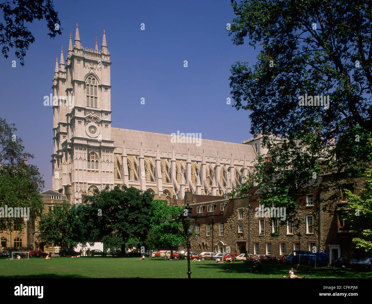 England London Westminster Abbey from Dean's Yard - Stock Image
