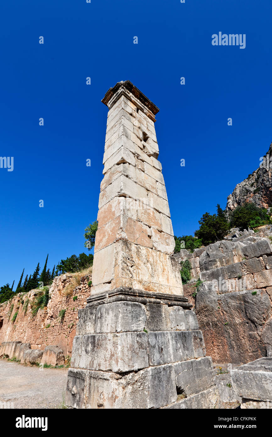 Pillar of Prusias II (2nd cent. B.C.) in Delphi, Greece - Stock Image