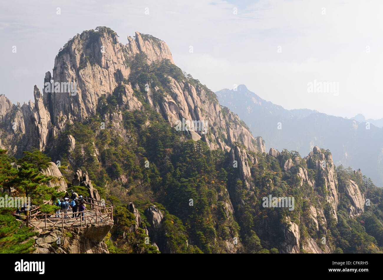 Lookout to Stalagmite Gang peaks at East Sea area of Huangshan Yellow mountain China - Stock Image