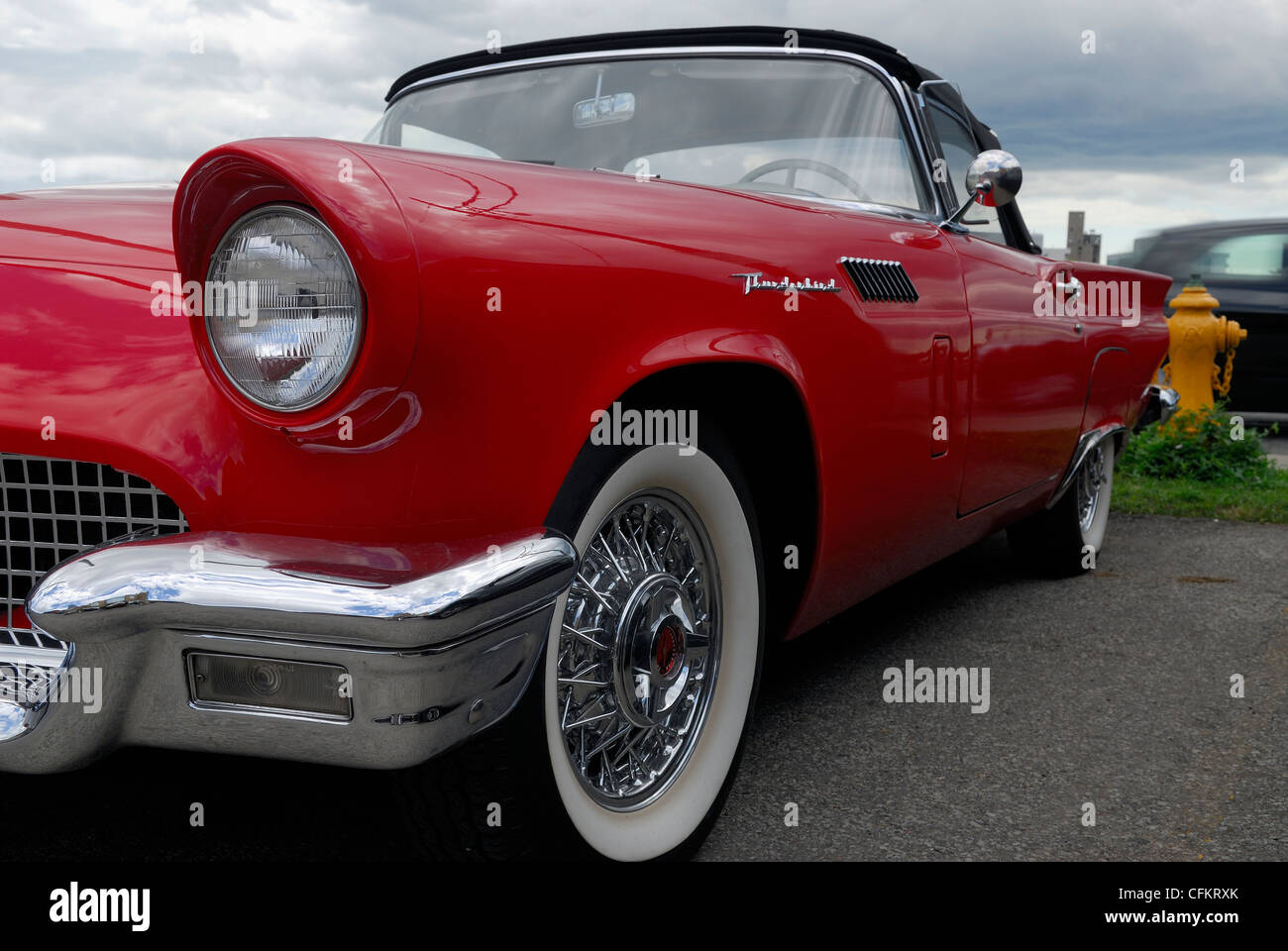Red 1957 Ford Thunderbird convertible Toronto - Stock Image