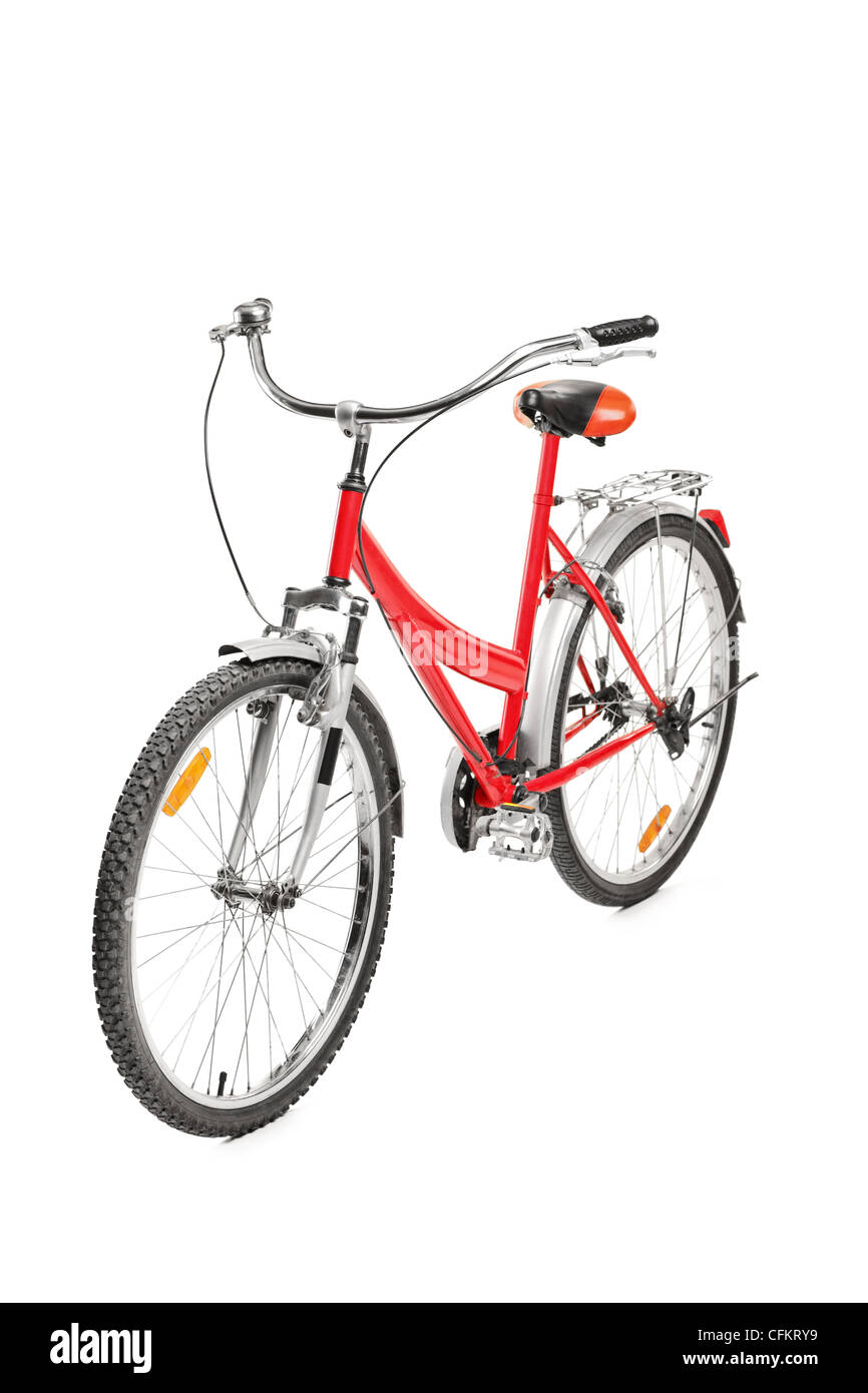 A studio shot of a bicycle isolated on white background - Stock Image