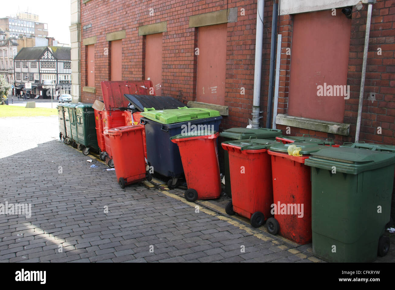 Rubbish bins in Swansea - Stock Image
