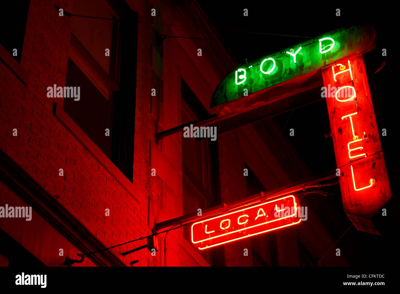 Neon lights at Boyd Hotel in Deep Ellum (Dallas, Texas). - Stock Image