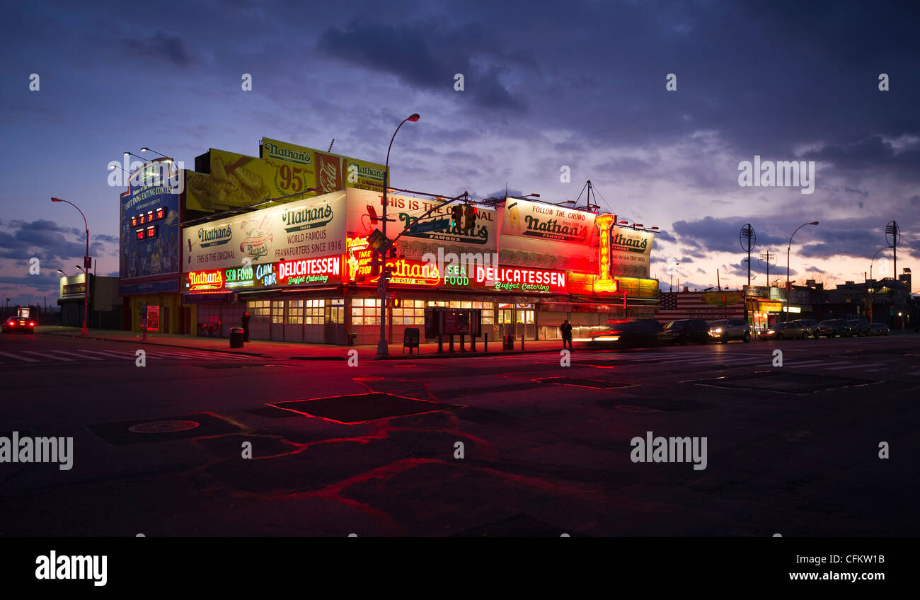 Nathan's Famous Hot-Dog's original location in Coney Island, New York, USA, on February 25, 2012. (Adrien - Stock Image