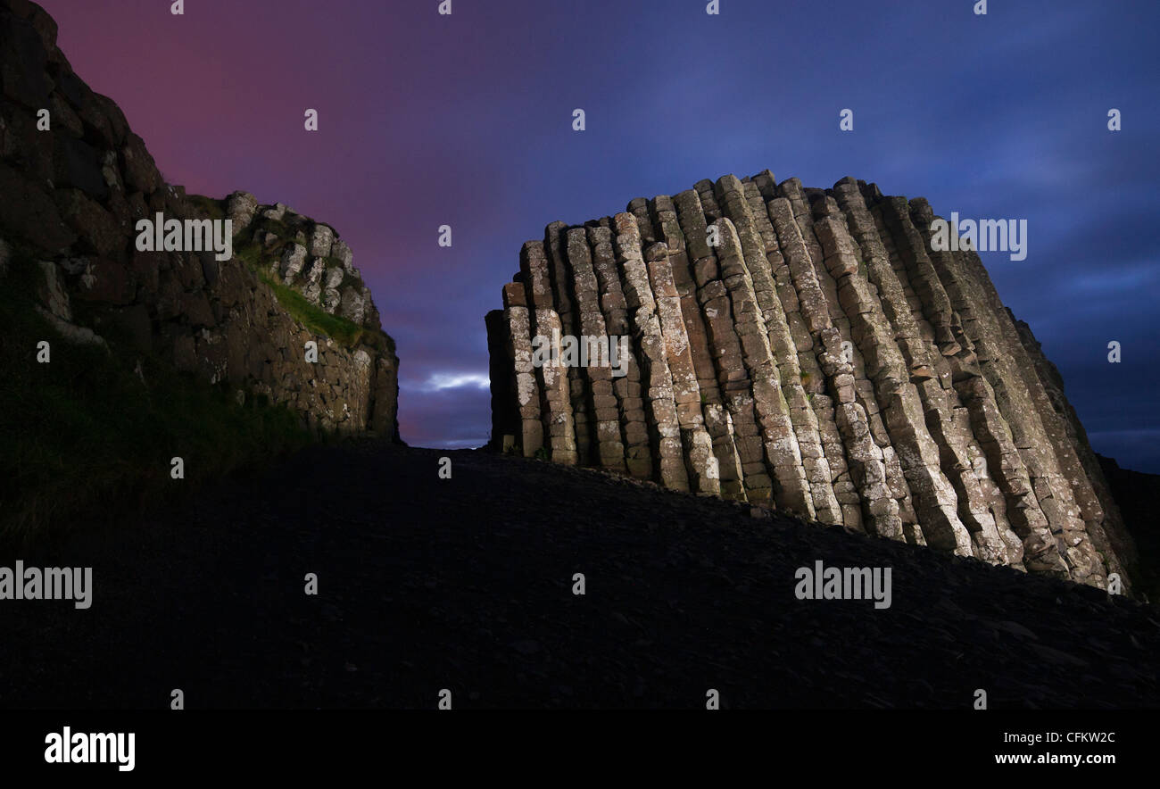 Giant's Causeway in County Antrim, Northern Ireland, photographed (and light painted) on October 12, 2011. (Adrien - Stock Image