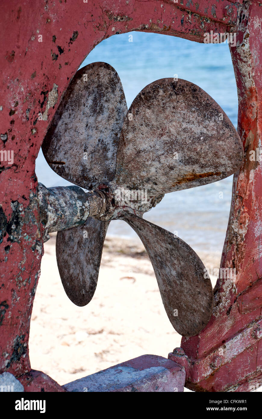 Closeup of an old boat rusty propeller - Stock Image