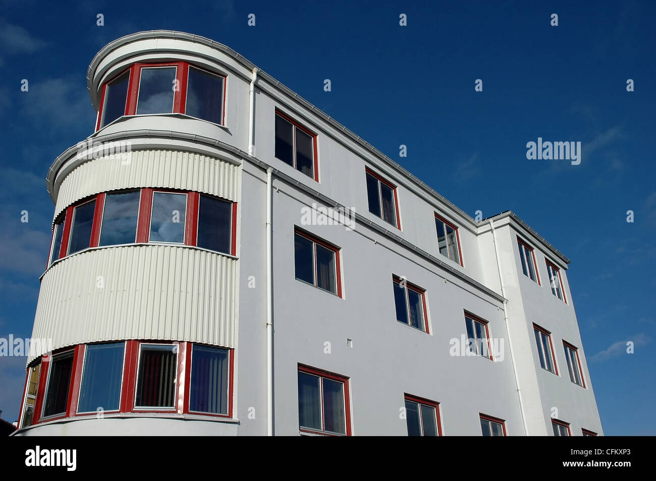 modern house with rounded corner - Stock Image