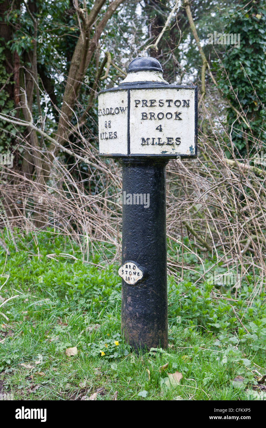 Mile posts on the Trent-Mersey canal - Stock Image