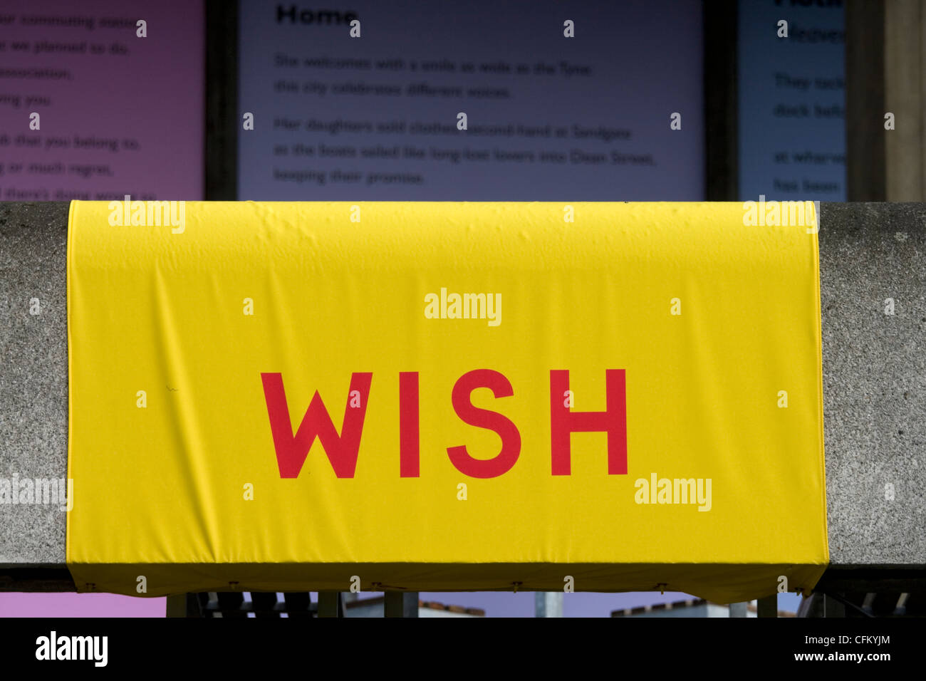 A baner reading WISH on the side of A south Bank building, London, UK - Stock Image