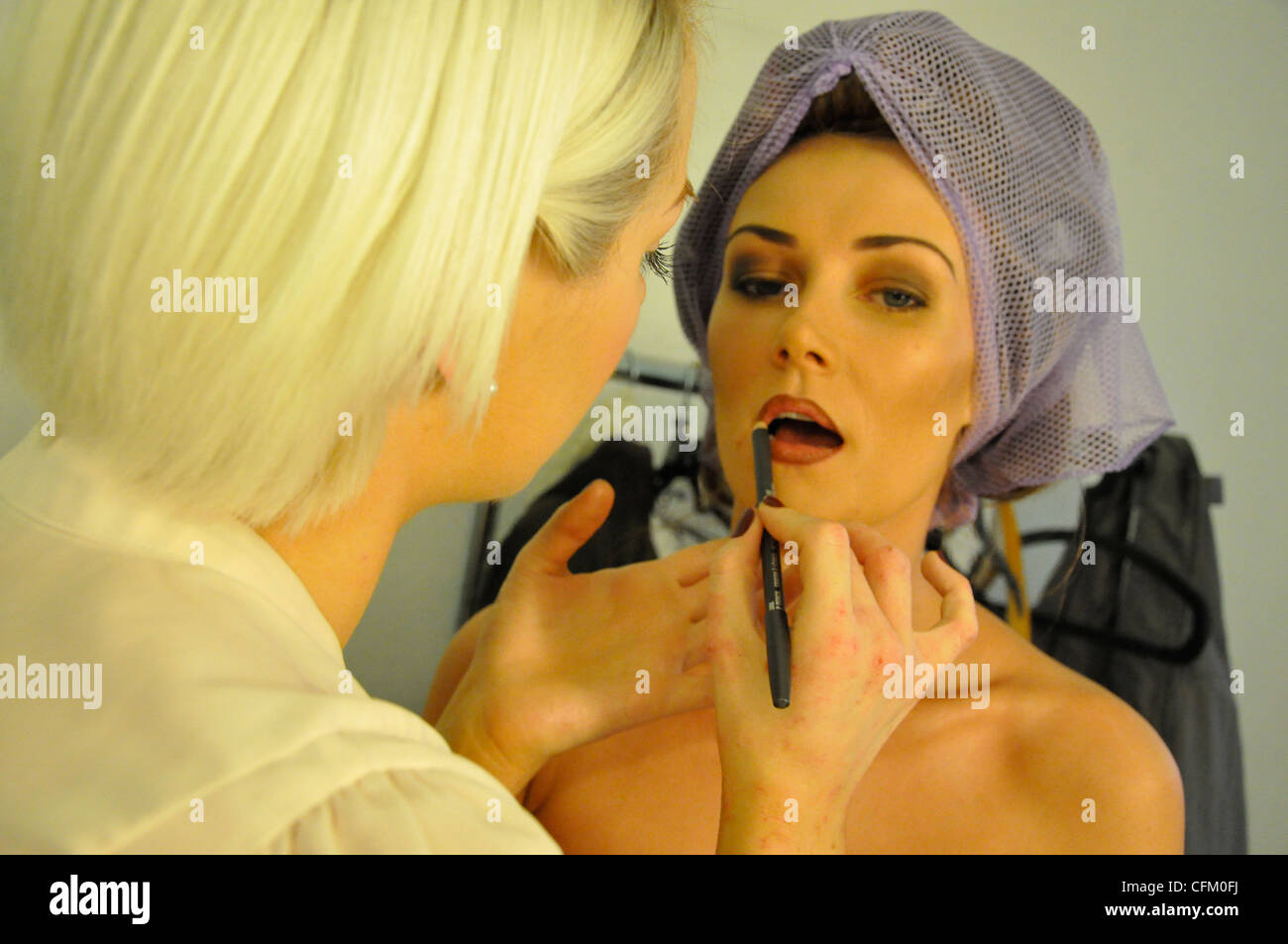 Hair & Make up models & stylists for a photo shoot - Stock Image