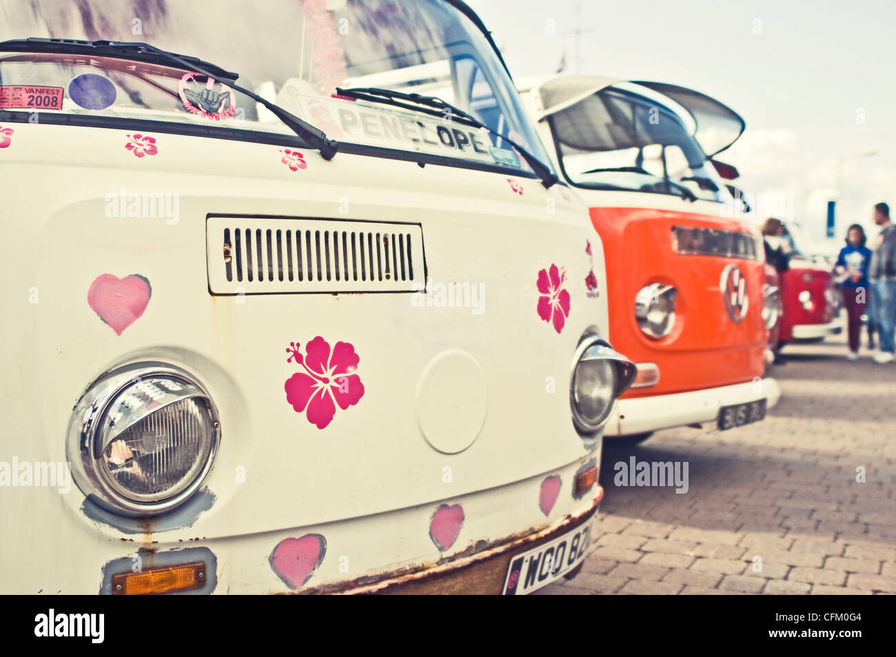 A classic VW campervan show - Stock Image