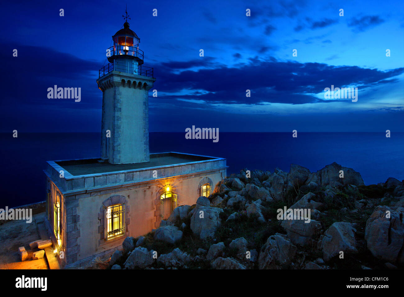 The lighthouse in Akrotainaron ('Cape Tainaron' or 'Cape Matapan') on the southernmost corner of - Stock Image