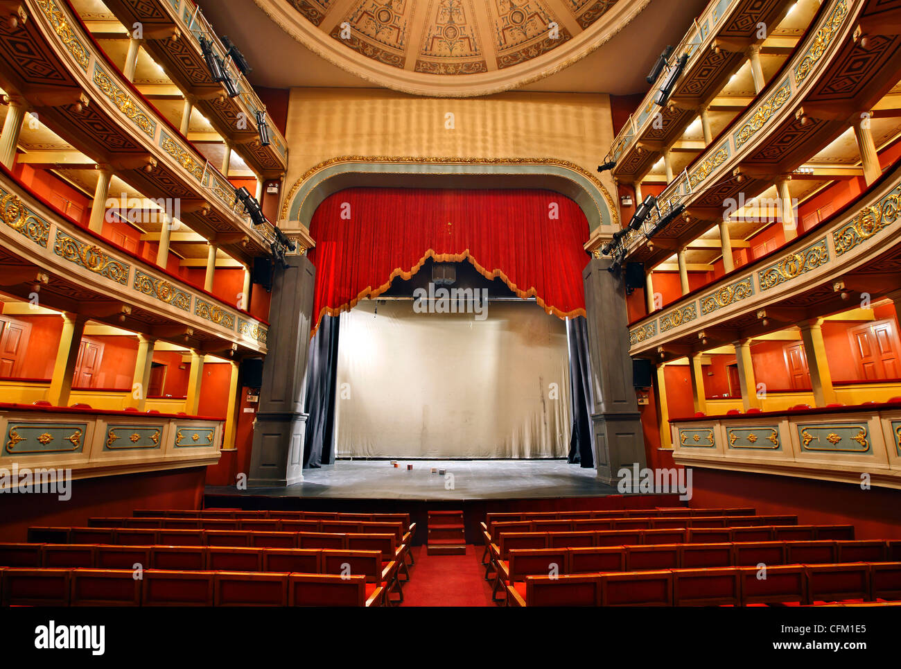 Inside view of the Apollo Municipal Theater, of the city of Patras, Achaia, Peloponnese, Greece. - Stock Image