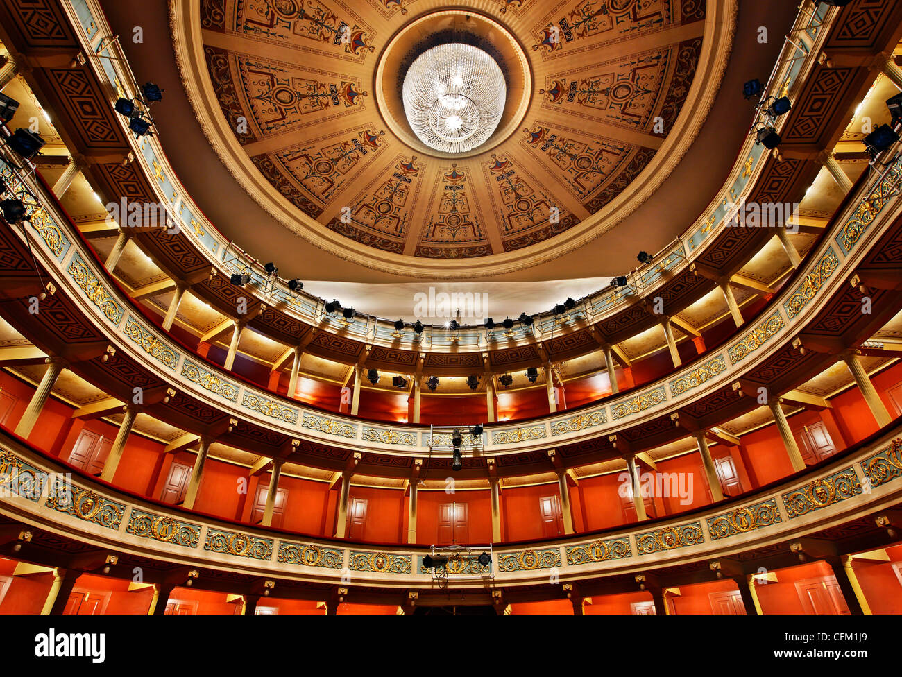Inside view of the Apollo Municipal Theater, of the city of Patras, Achaia, Peloponnese, Greece. Stock Photo