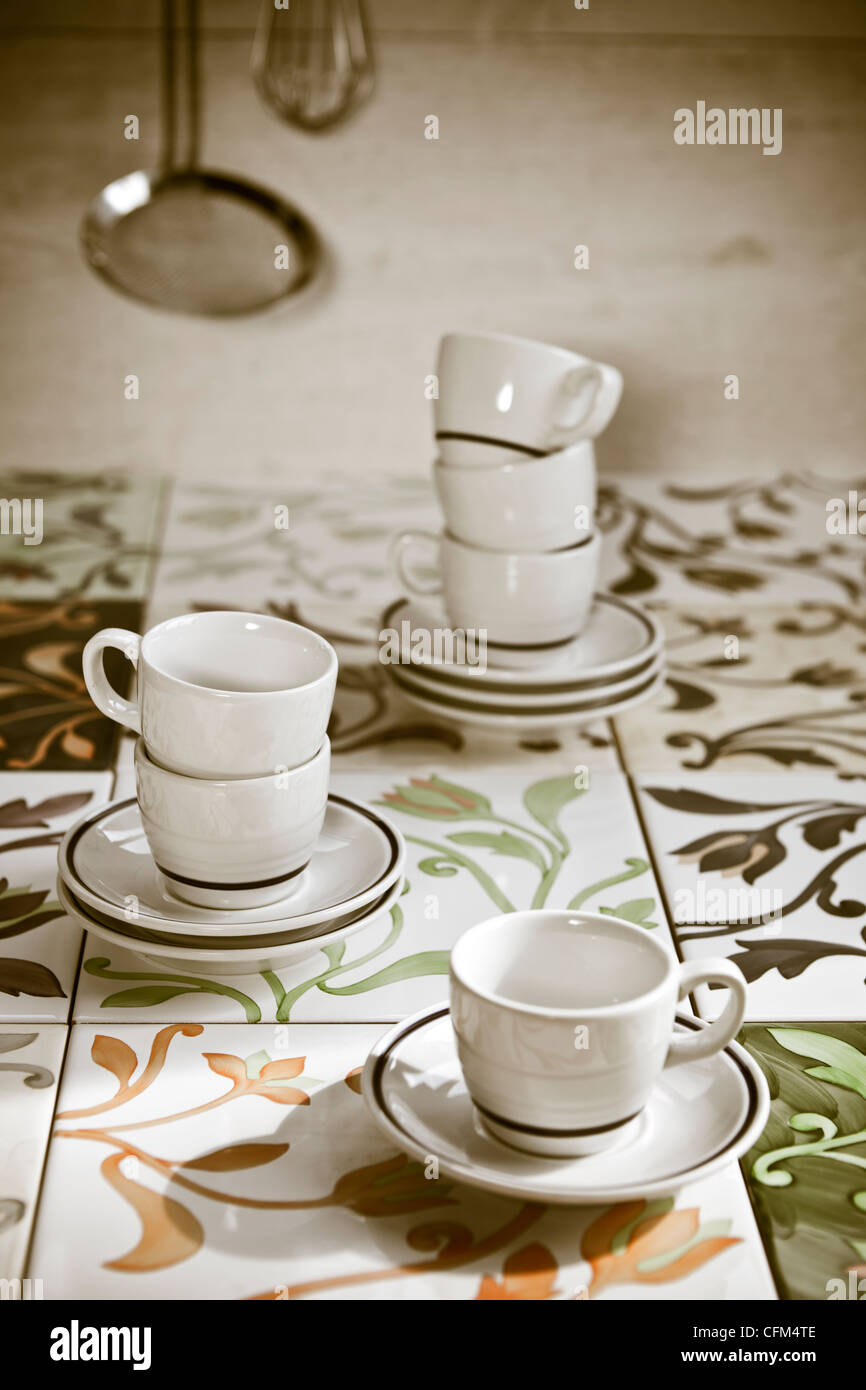 several espresso cups old-fashioned tiles - Stock Image