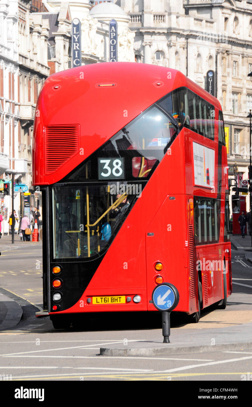 Rear view staircase double decker red London bus variously referred to as New Routemaster or Boris bus Shaftesbury - Stock Image