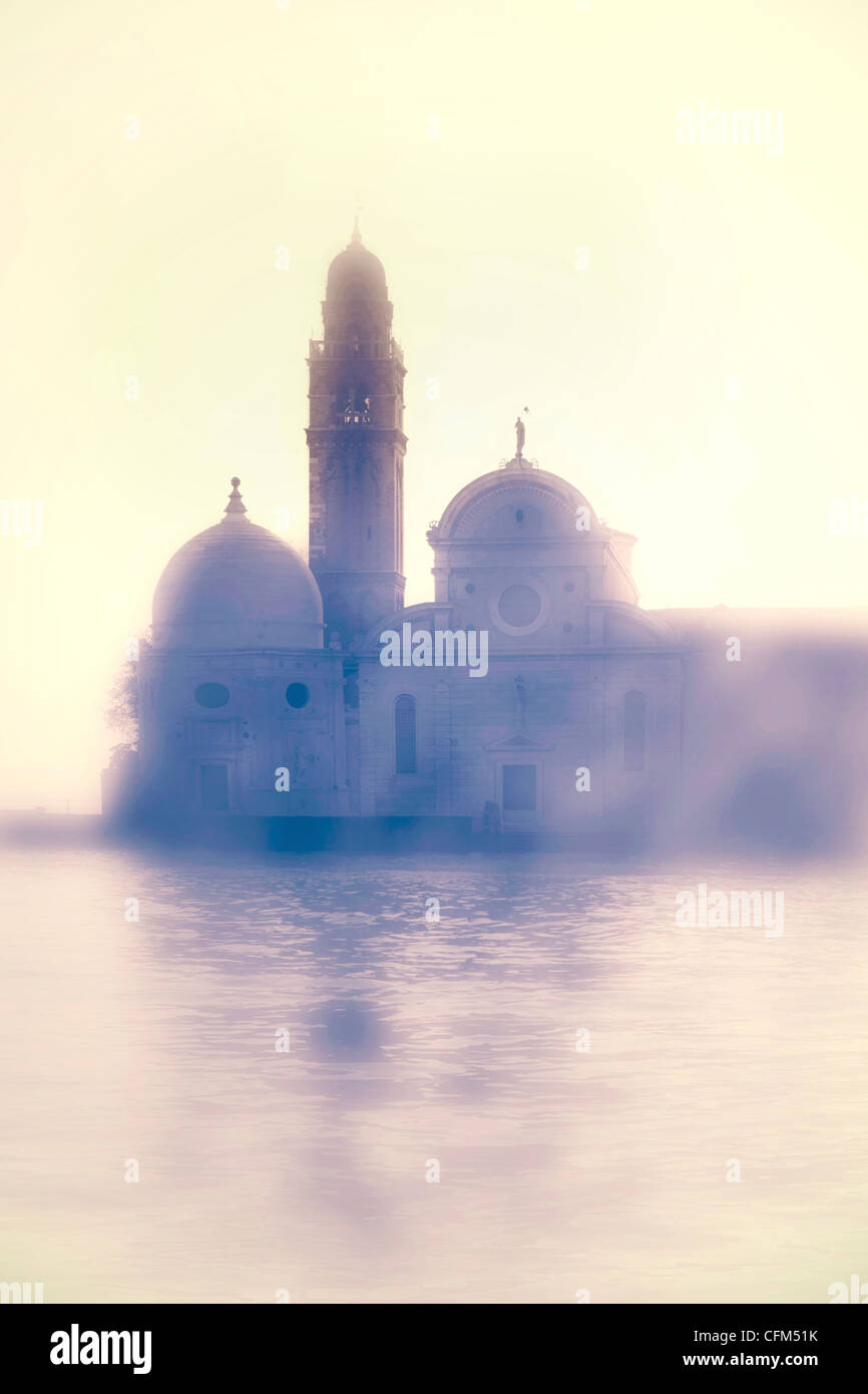 Church of San Michele in Venice in the backlight - Stock Image