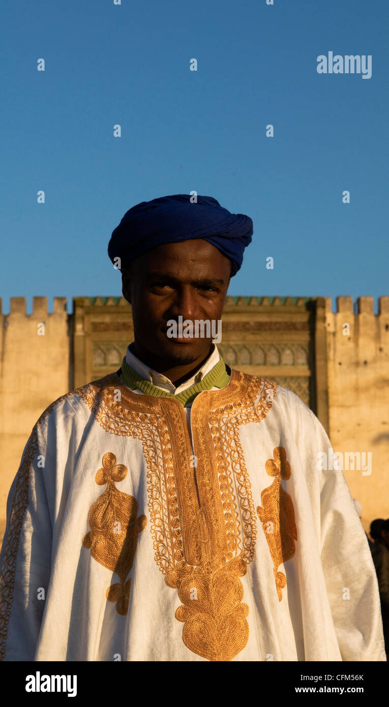 Portrait of a Moroccan musician from the Sahara region. - Stock Image