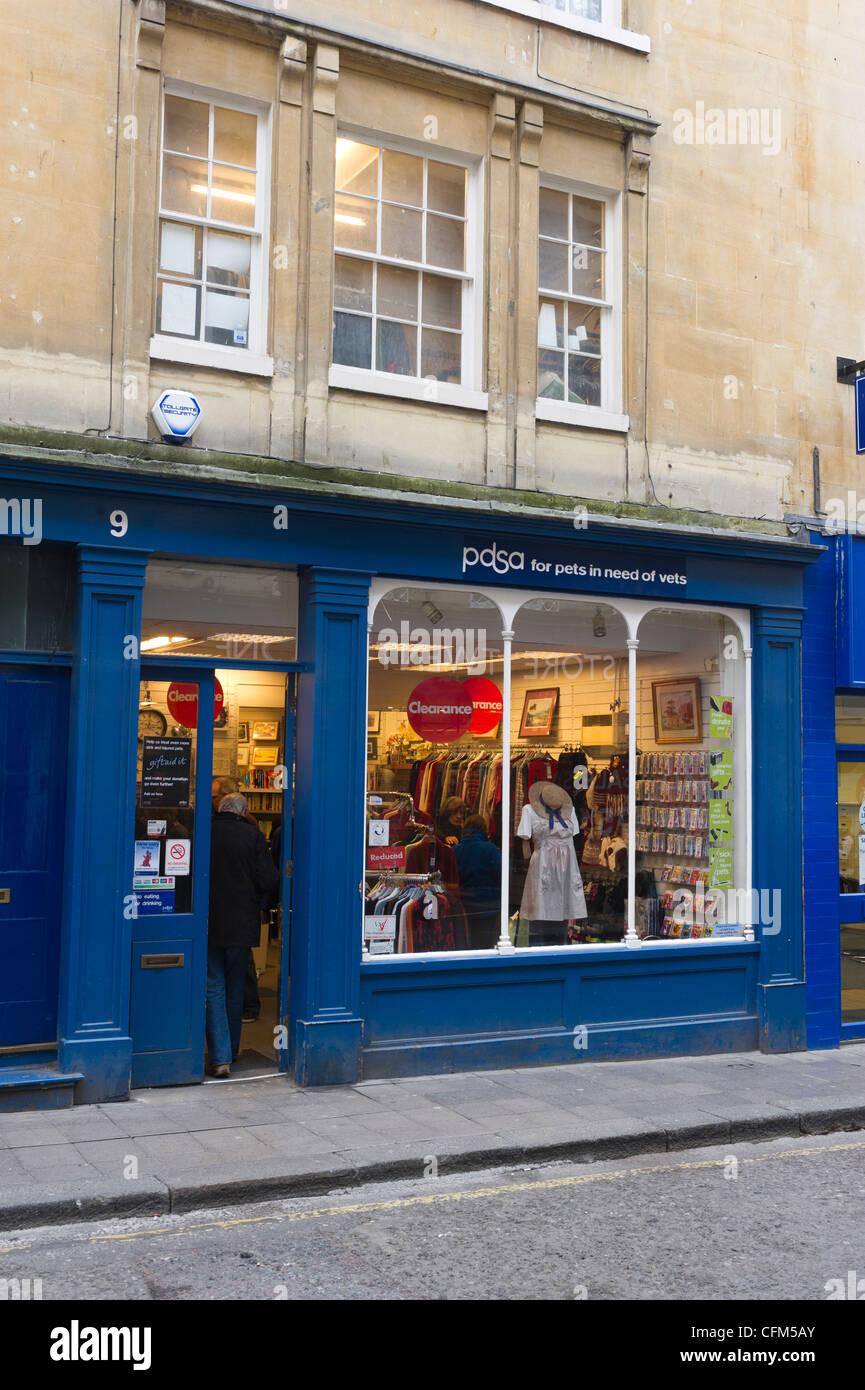 PDSA charity shop Bath Somerset UK - Stock Image