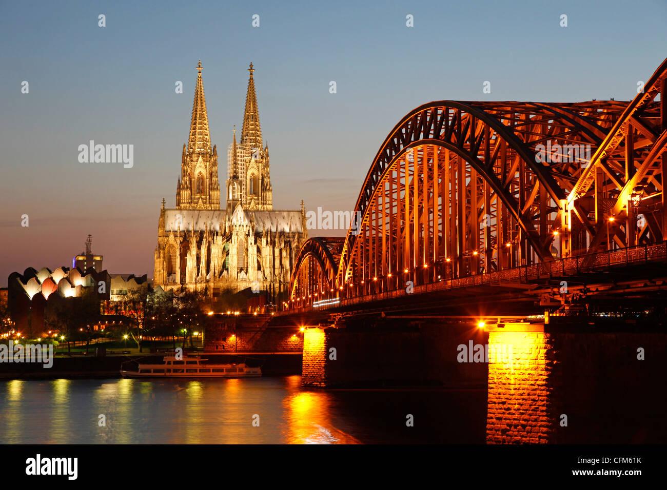 Hohenzollern Bridge, Cologne, North Rhine Westphalia, Germany, Europe - Stock Image