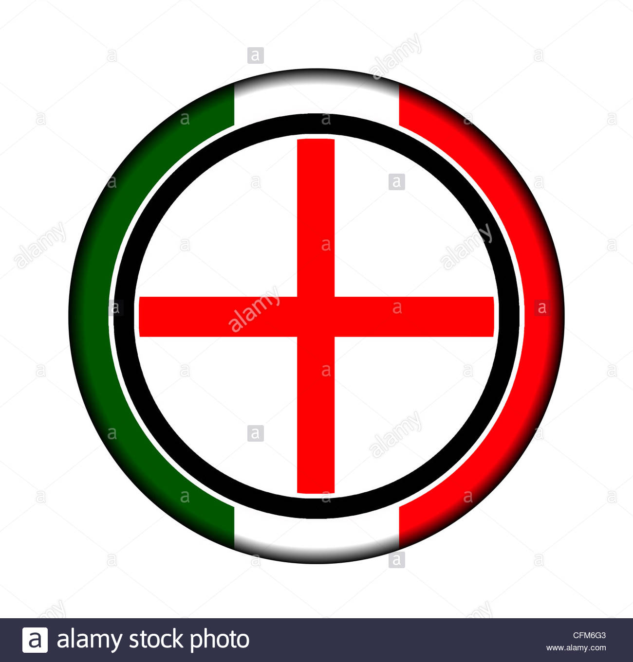 Italian Button with the Flag of Milan - Stock Image