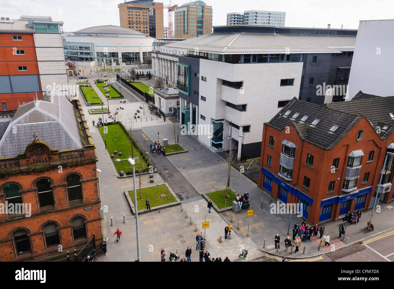 Belfast Law Courts area at Laganside - Stock Image