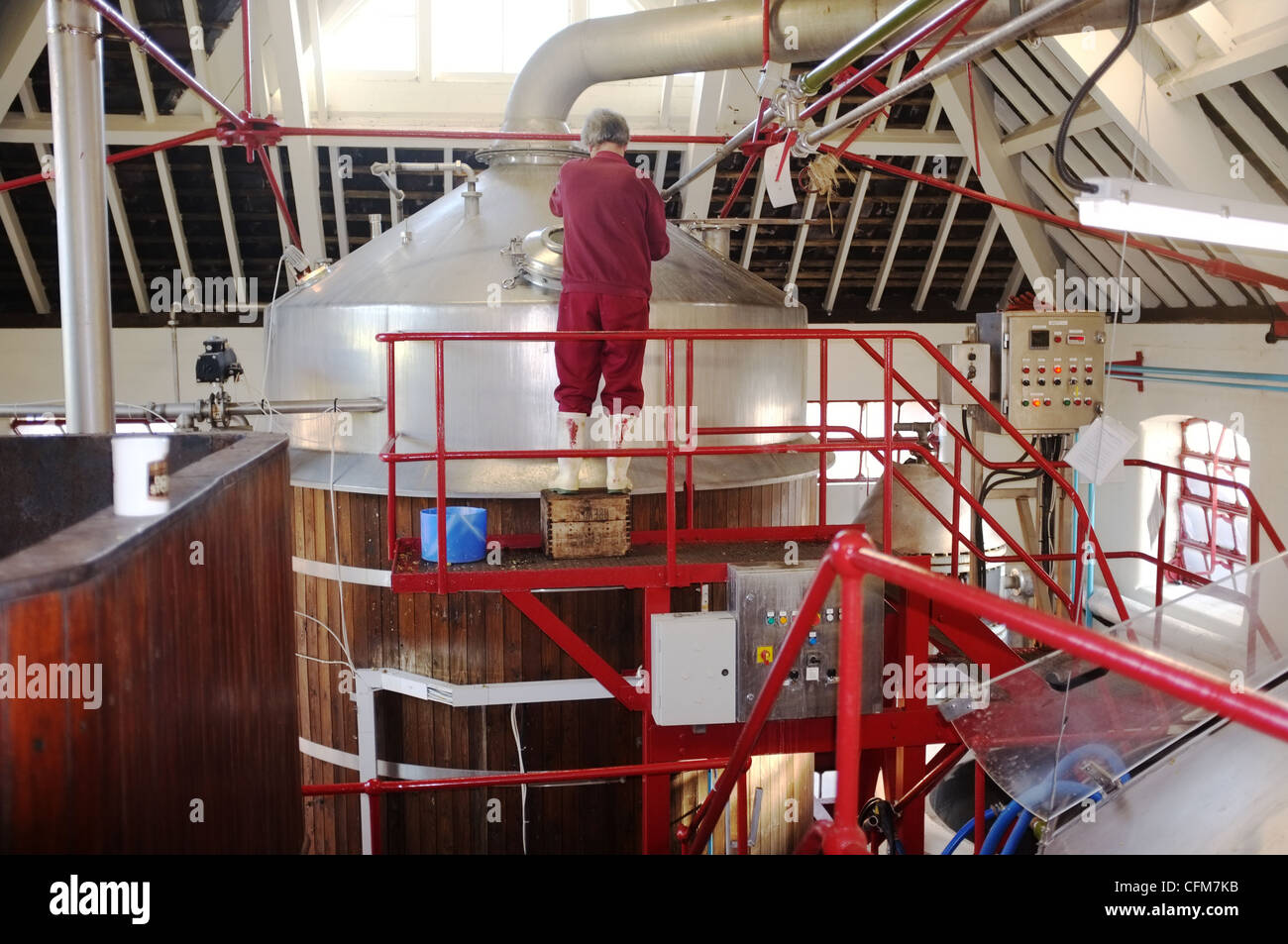 Hook Norton Brewery Interior Cleaning of Fermentation Vat - Stock Image