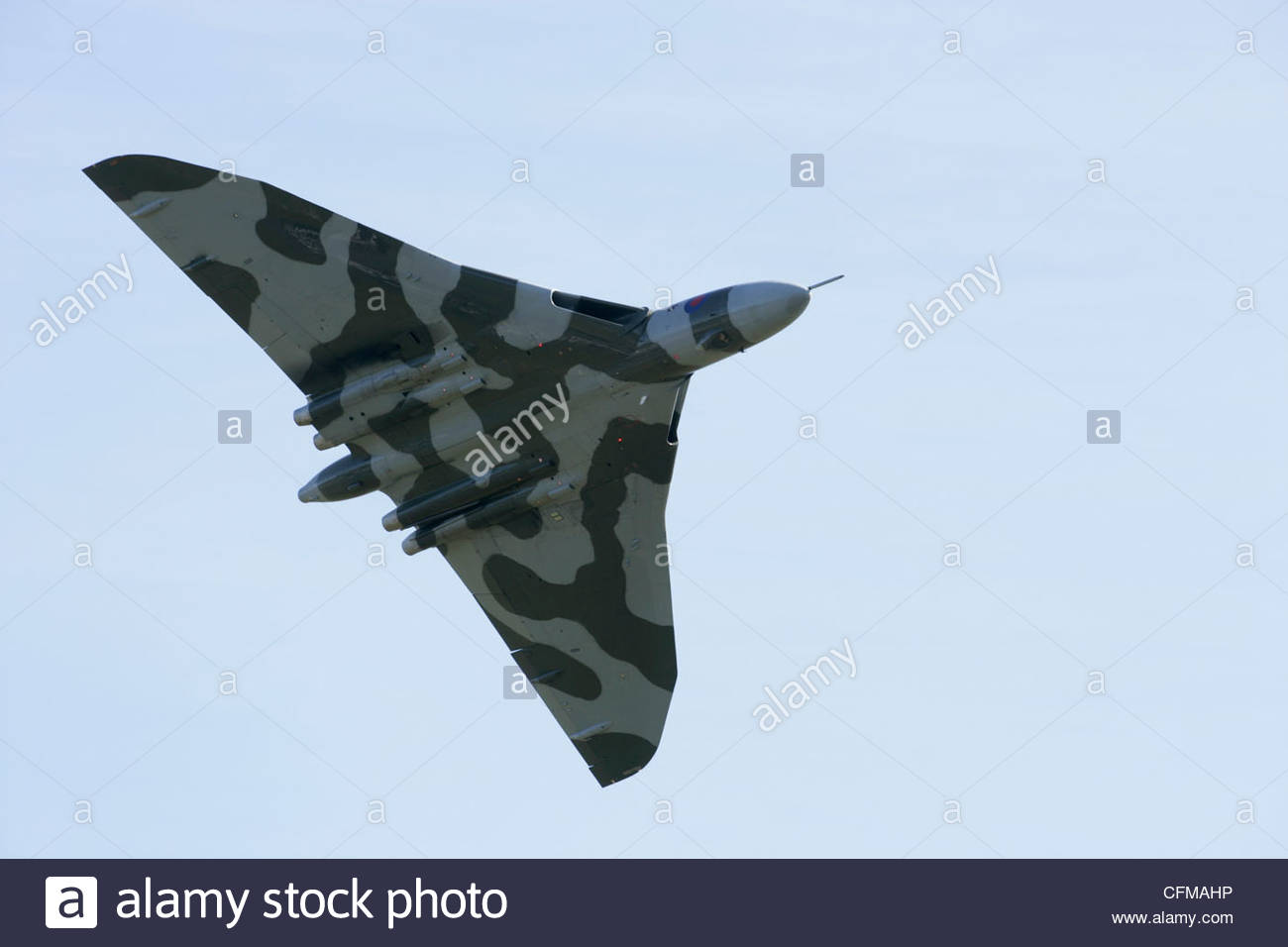Vulcan bomber used by the RAF with a nuclear bomb payload capacity Out of service and now used for demonstrations - Stock Image
