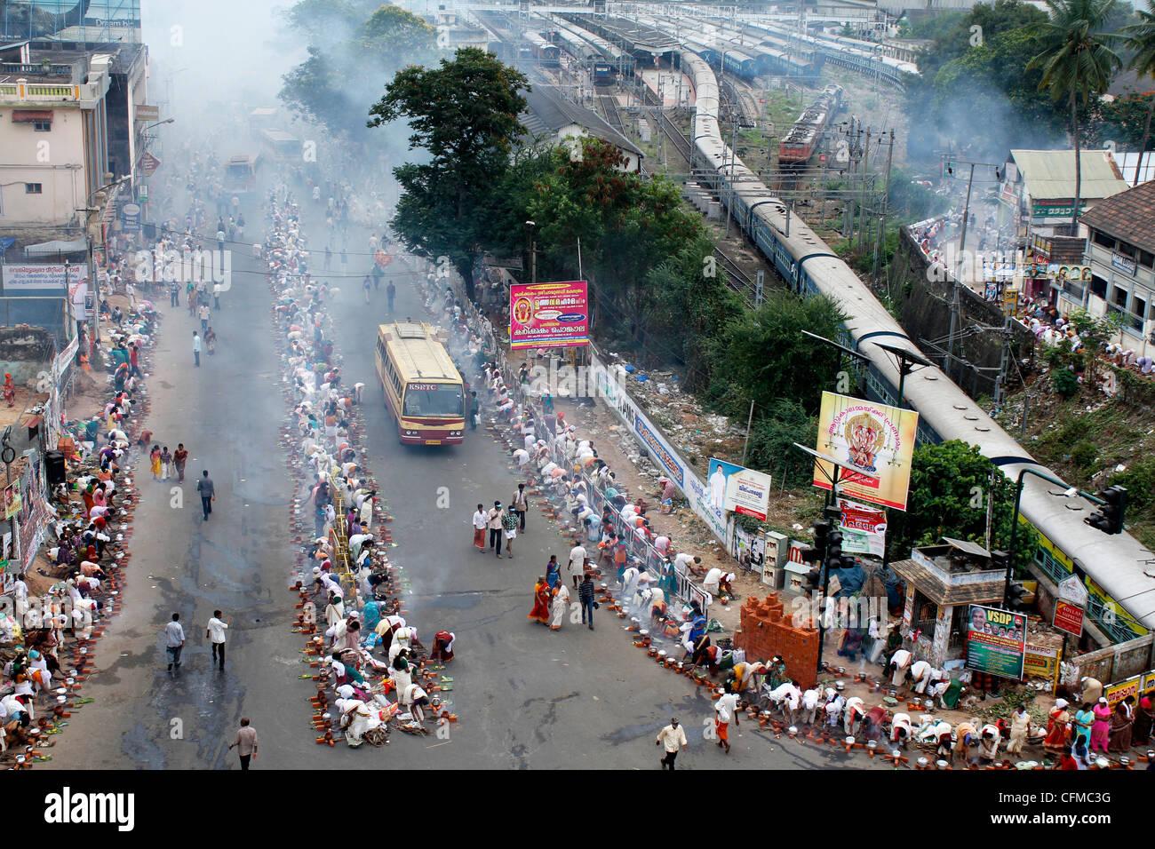 Scene From Attukal Pongala Festival Trivandrum India