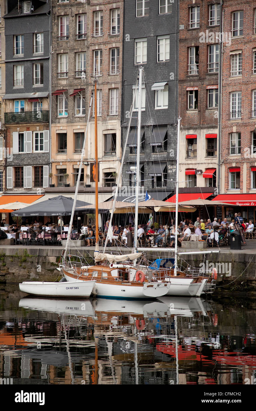 Inner harbour, Honfleur, Normandy, France, Europe - Stock Image