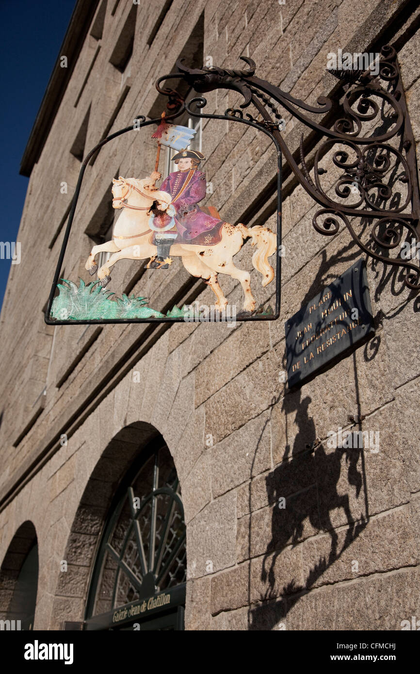 Hanging sign of a horseman, Place Jean Moulin, St. Malo, Brittany, France, Europe - Stock Image