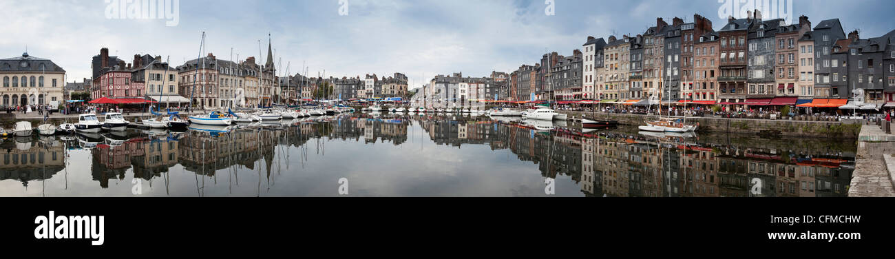 Panorama of inner harbour, Honfleur, Normandy, France, Europe - Stock Image