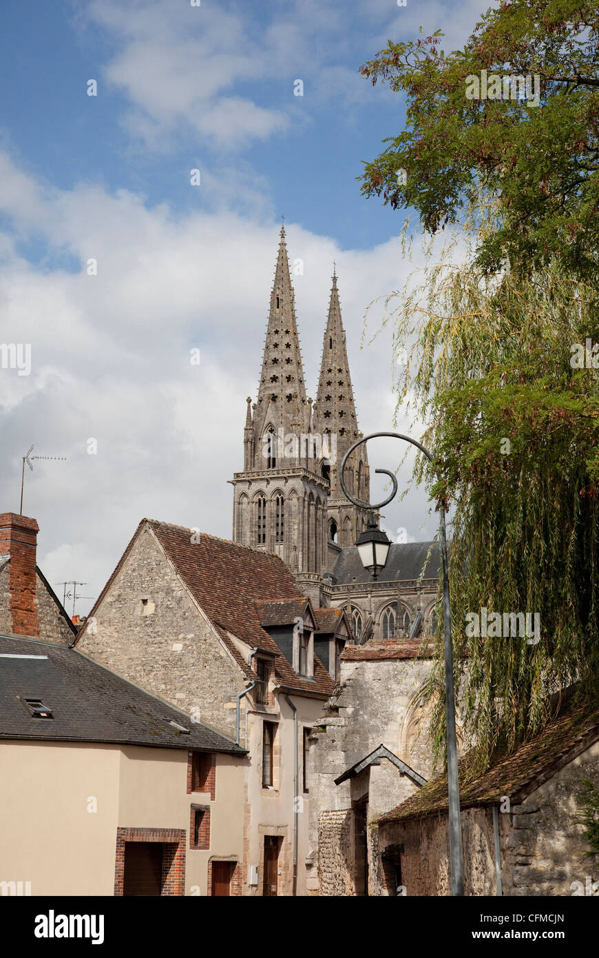 Cathedral spires seen over old houses, Sees, Lower Normandy, France, Europe - Stock Image