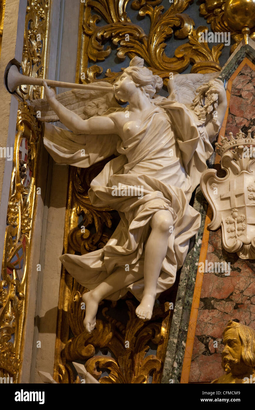 Marble angel in St. John's CoCathedral. Valletta. Malta. Europe - Stock Image