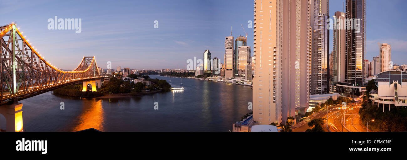 Story Bridge, Kangaroo Point, Brisbane River and city centre at dawn, Brisbane, Queensland, Australia, Pacific - Stock Image