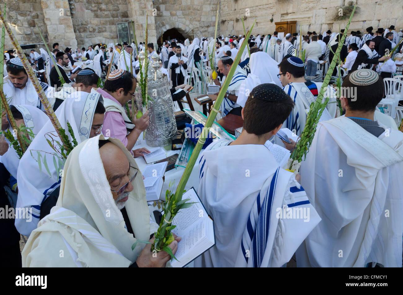 Sukkot celebrations with Lulav, Western Wall, Old City, Jerusalem, Israel, Middle East - Stock Image