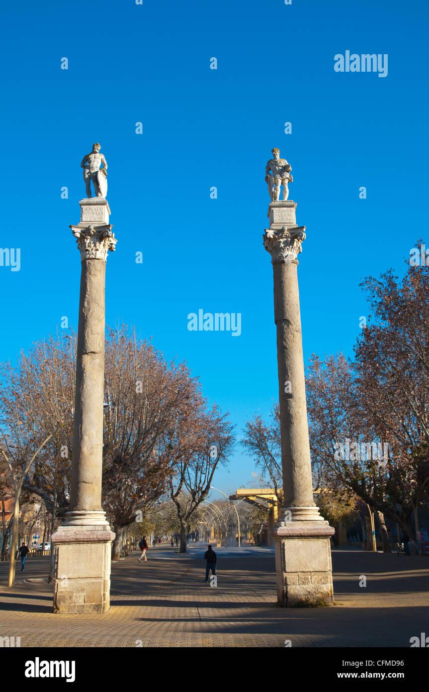 Alameda de Hercules square central Seville Andalusia Spain - Stock Image